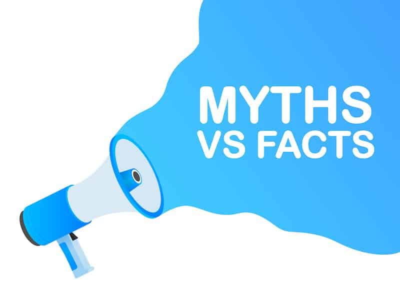 myths vs facts. icon on white backdrop. versus vs background. vector icon. white background